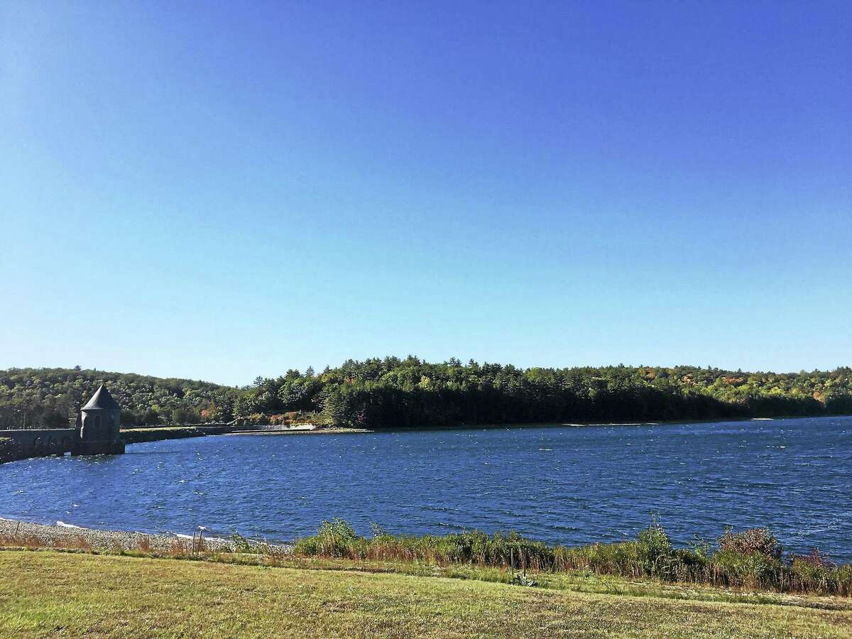 The Barkhamsted Reservoir and Saville Dam area, in a photo taken on Columbus Day weekend in 2018, was crowded with visitors this weekend. First Selectman Don Stein is asking people to continue practicing social distancing and refrain from gathering in large groups.