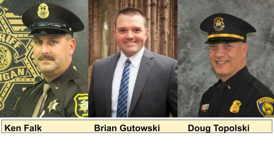 The Aug. 4 primary ballot slot for Manistee County sheriff features candidates Ken Falk, Brian Gutowski and Doug Topolski. Photo: Courtesy Photos