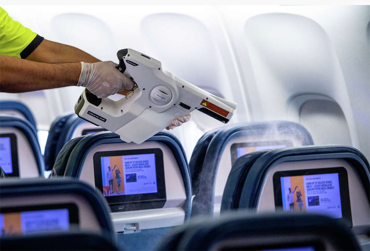 Delta is using electrostatic sprays to disinfect its aircraft.