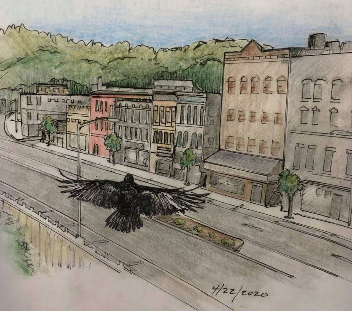 Artist Gay Schempp has created a series of drawings featuring a crow or crows living with the coronavirus. Schempp, who has a studio in Whiting Mills in Winsted, says she satisfied her need to create with the sketches since she has to work from home, and has done more than 30 drawings so far.