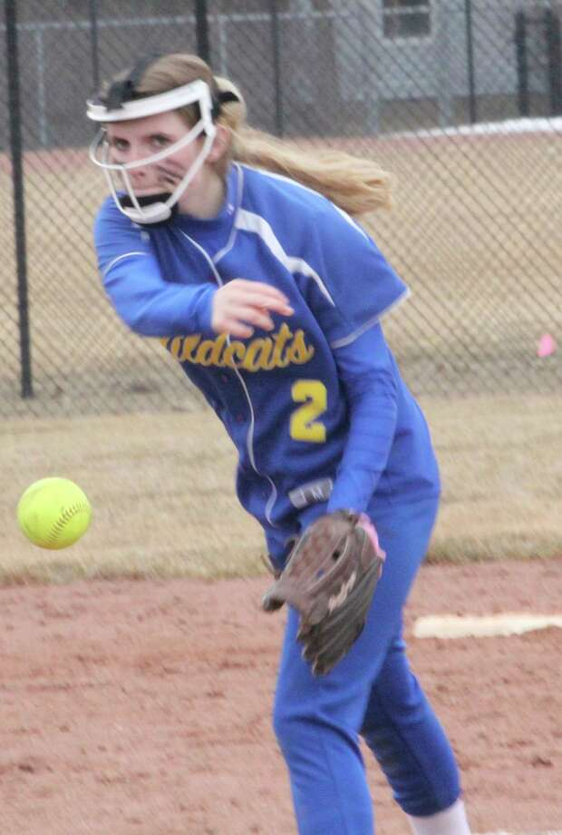 Evart's Abby Apsey delivers a pitch last season. (File photo)