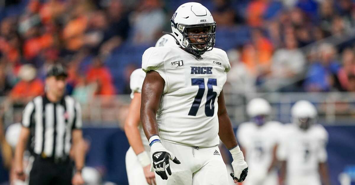 Rice Owls offensive lineman Justin Gooseberry (76) gets ready for a play during the college football game between the Rice Owls and UTSA Roadrunners on October 19, 2019 at the Alamodome in San Antonio, Texas. (Photo by Daniel Dunn/Icon Sportswire via Getty Images)