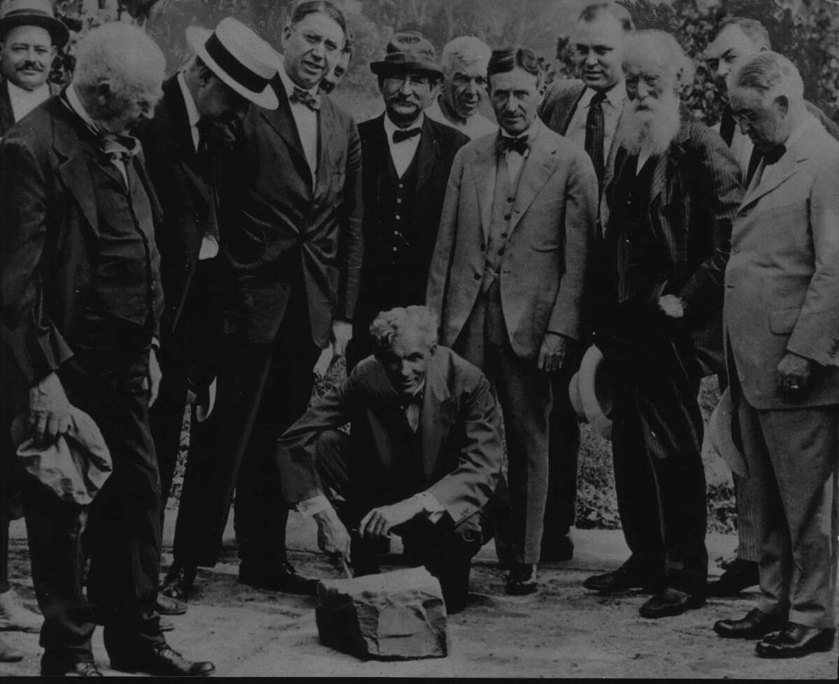 Henry Ford attends a Ford plant ceremony in 1919 in Green Island. Henry Ford, Thomas Edison, James R. Walt (third from left); Harvey Firestone (third from right); John Burroughs (2nd from right); Cornelius Burns. 1919 (Times Union Archive)