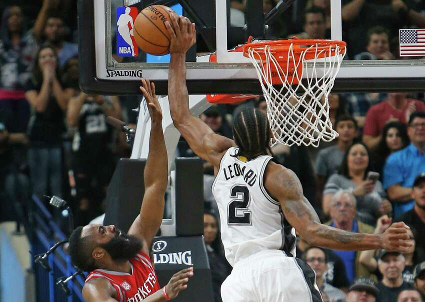 10.Kawhi Leonard's 3-pointer and block combo vs. Rockets Right after his big 3-pointer gave the Spurs the lead, Kawhi Leonard proceeded to seal the victory by rushing back on defense for a left-handed block of James Harden's potential go-ahead layup attempt for Houston on March 26, 2017, at the AT&T Center. READ MORE:Kawhi Leonard's combo vs. Rockets