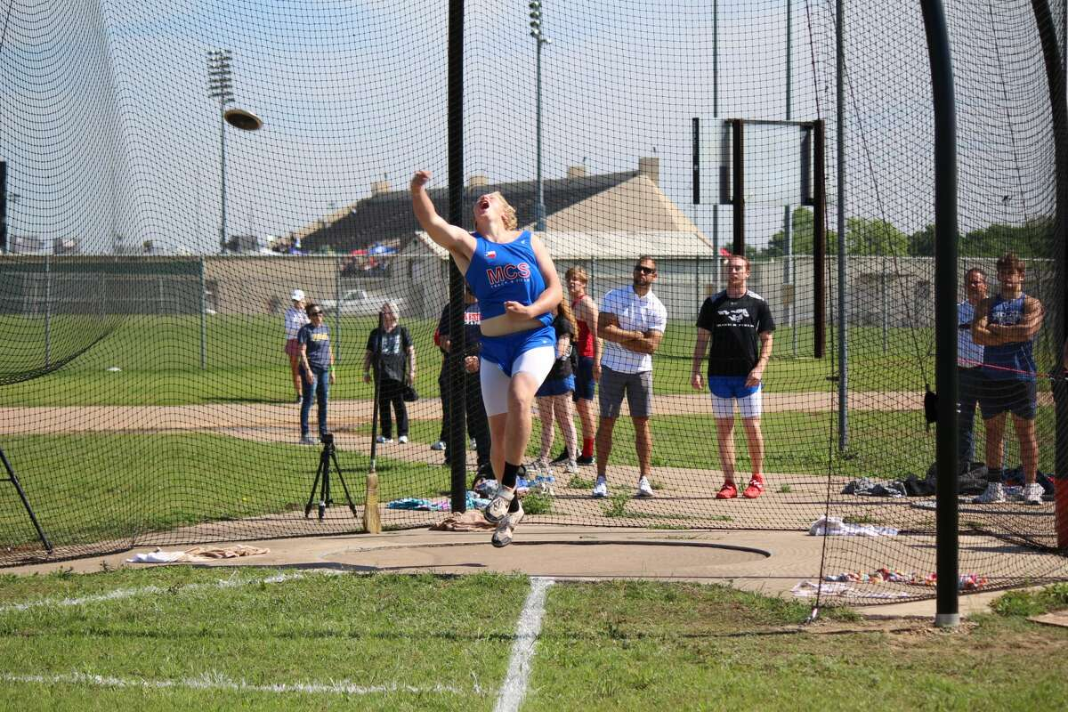 Midland Christian's Colin Rogers throws the discus at the 2019 TAPPS 6A North Regional Track Meet at Herman Clark Stadium in Fort Worth. Courtesy photo