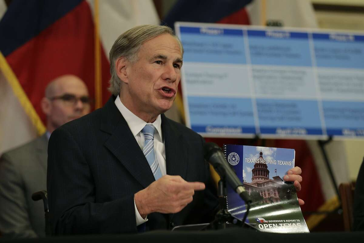 Texas Gov. Greg Abbott holds the Governor's Report to Reopen Texas during a news conference where he announced he would relax some restrictions imposed on some businesses due to the COVID-19 pandemic Monday, April 27, 2020, in Austin, Texas. (AP Photo/Eric Gay)
