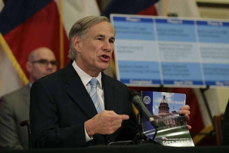 Texas Gov. Greg Abbott holds the Governor's Report to Reopen Texas during a news conference where he announced he would relax some restrictions imposed on some businesses due to the COVID-19 pandemic Monday, April 27, 2020, in Austin, Texas. (AP Photo/Eric Gay) Photo: Eric Gay, Associated Press