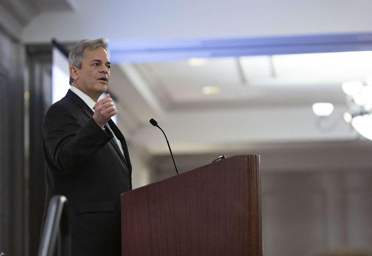 Austin Mayor Steve Adler gives a speech in 2019.
