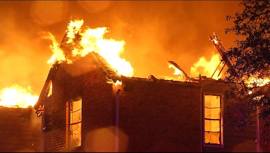 A lightning strike is the likely cause of a second-alarm fire at an apartment complex early Tuesday, April 28, 2020, that destroyed several family homes on the Northeast Side, the San Antonio Fire Department said. Photo: Ken Branca