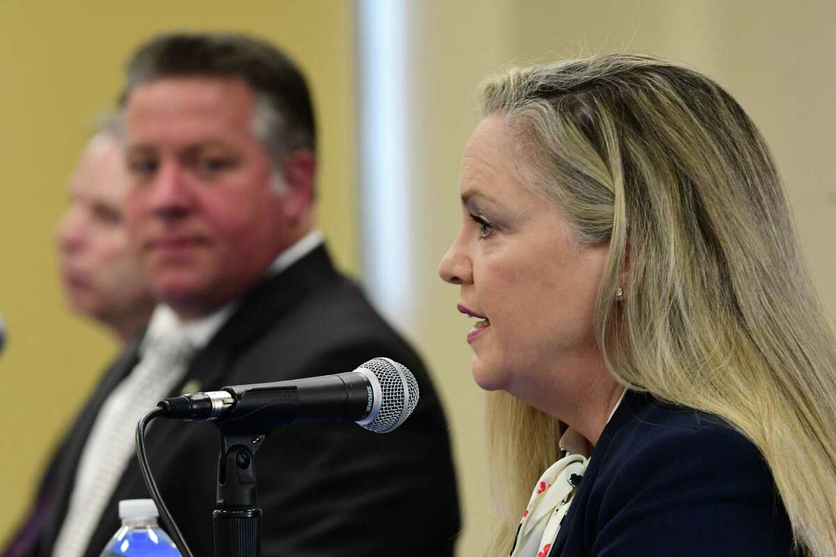 Dr. Elizabeth Whalen, Albany County Department of Health commissioner, speaks as Albany County Executive Daniel McCoy holds his daily coronavirus briefing on Tuesday, April 28, 2020 in Albany, N.Y. (Lori Van Buren/Times Union)