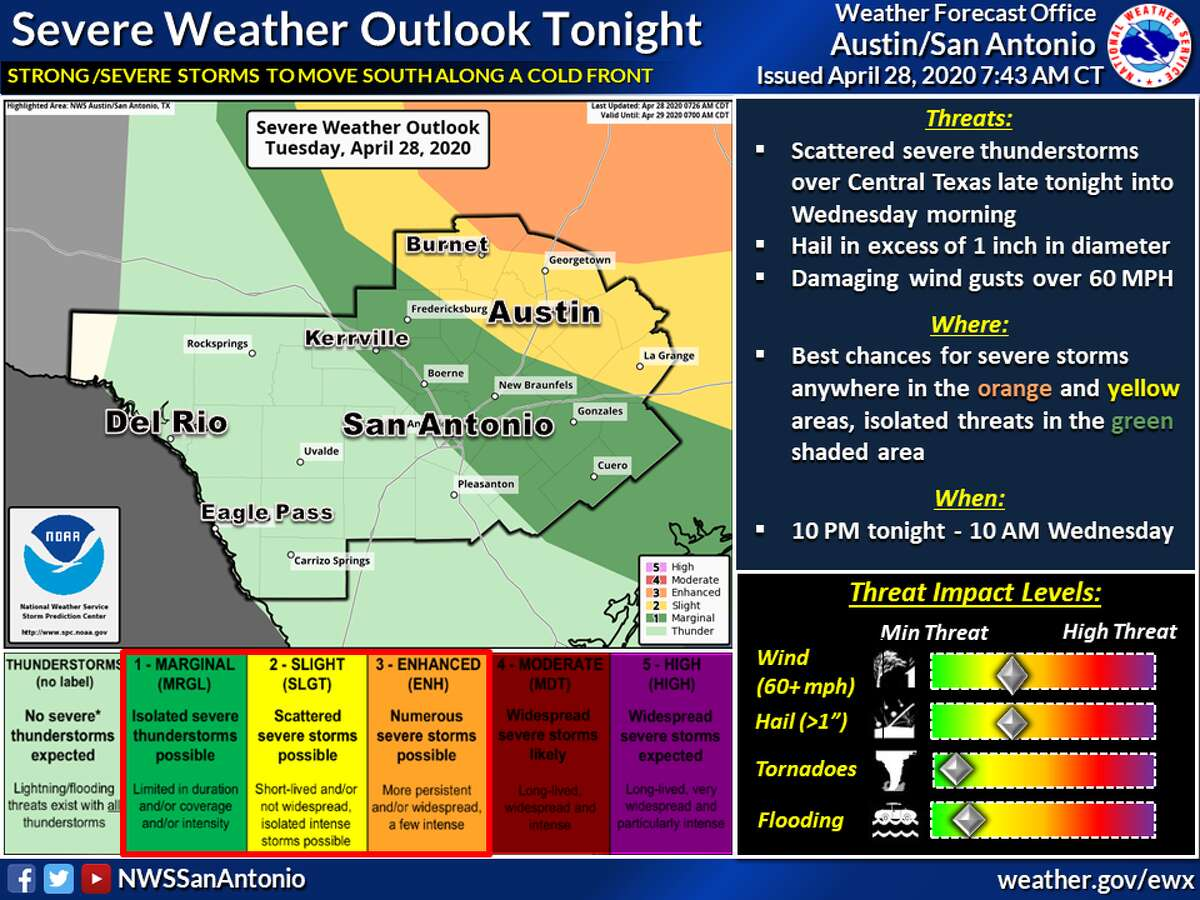 The National Weather Service said strong to severe thunderstorms are possible late Tuesday into Wednesday morning across the eastern half of South Central Texas.