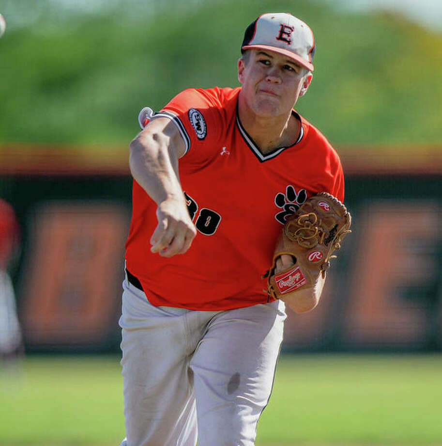 Edwardsville senior Gavin Reames delivers a pitch last summer for the Tigers. Photo: Rick Brewer|For The Intelligencer