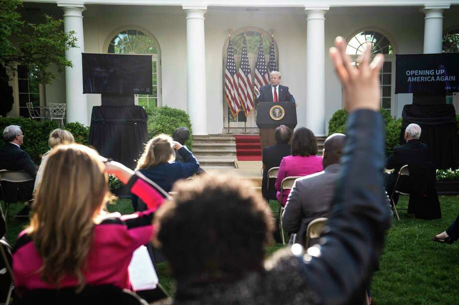 President Donald Trump speaks to reporters at a briefing in the Rose Garden at the White House on Monday. The media has failed America by never figuring out how to cover a president who busts all our norms, writes columnist Margaret Sullivan. Photo: Washington Post Photo By Jabin Botsford / The Washington Post