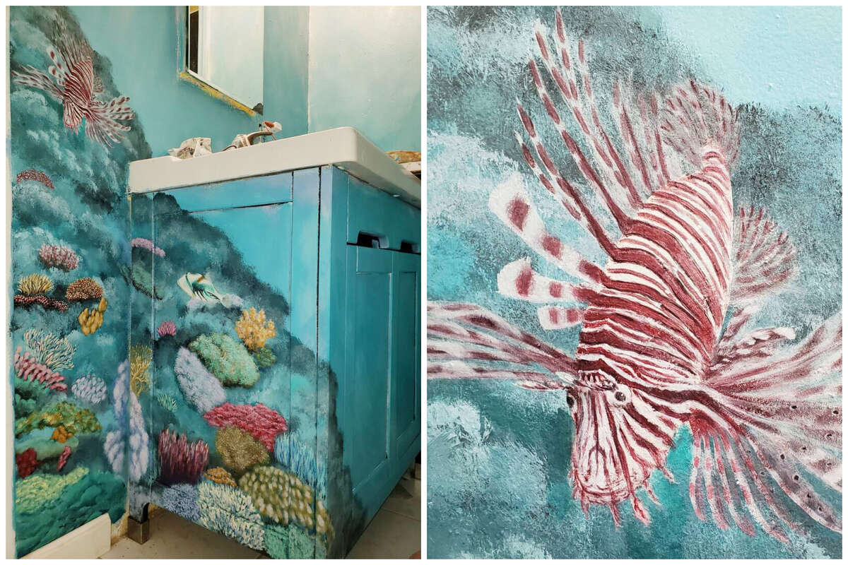 Above: A coral reef takes over the vanity in the bathroom. At right is the lionfish. Wong had loved painting as a youth and showed promise in high school, but he got little encouragement to follow his artistic pursuits when he was growing up.