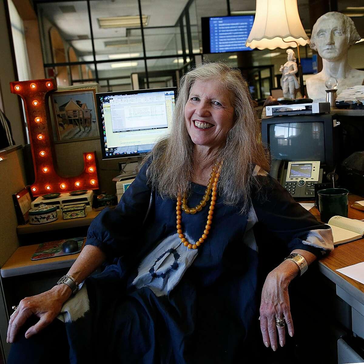 San Francisco Chronicle columnist Leah Garchik at her desk in San Francisco, Calif., on Wednesday, July 15, 2015.