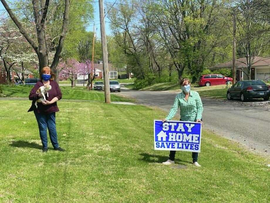 """State Rep. Katie Stuart, D-Edwardsville, is offering free """"Stay Home, Save Lives"""" yard signs to residents in connection with Gov. J.B. Pritzker's stay-at-home order."""