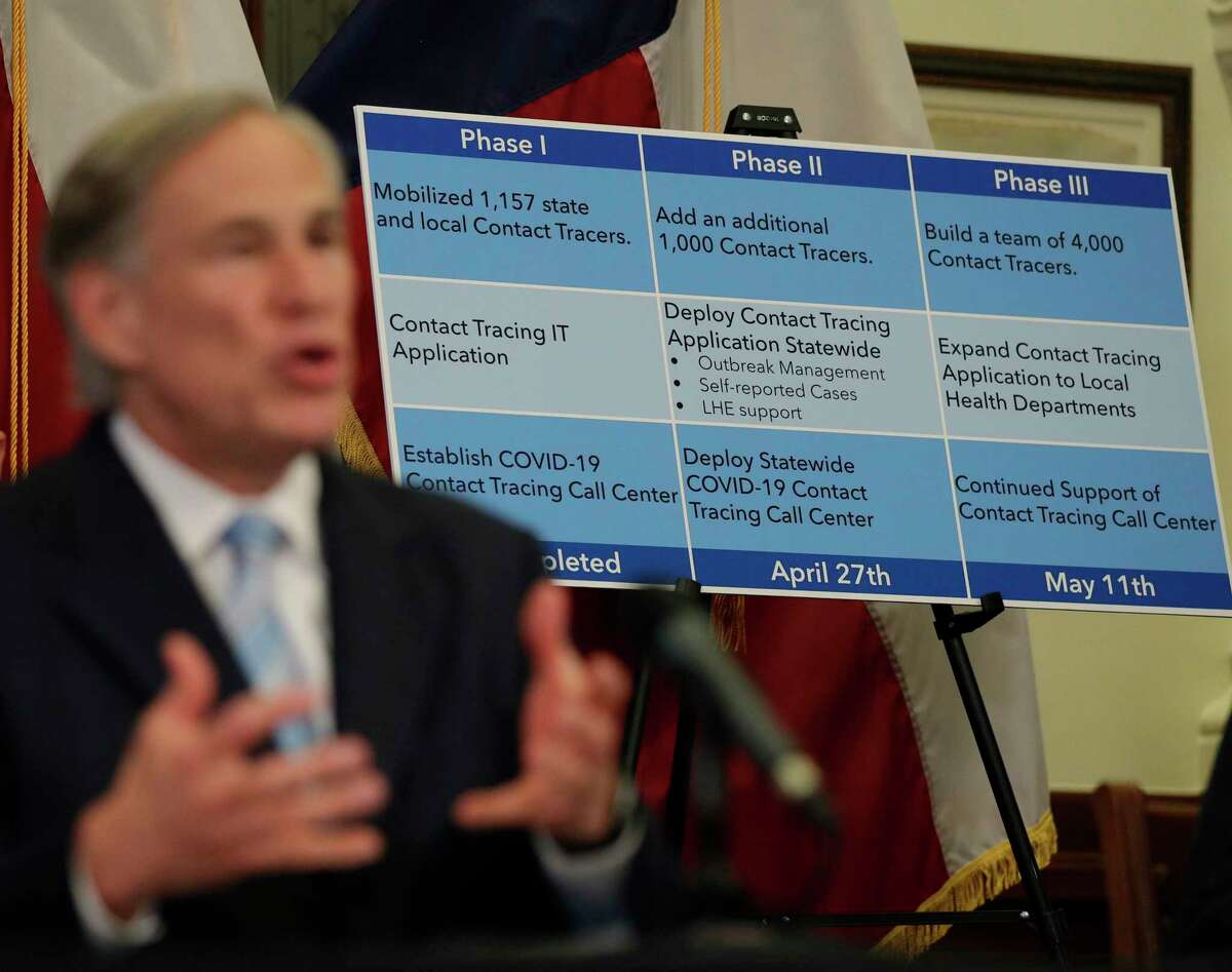 Texas Gov. Greg Abbott uses a display board during a news conference where he announced he would relax some restrictions imposed on some businesses due to the COVID-19 pandemic April 27, 2020, in Austin.