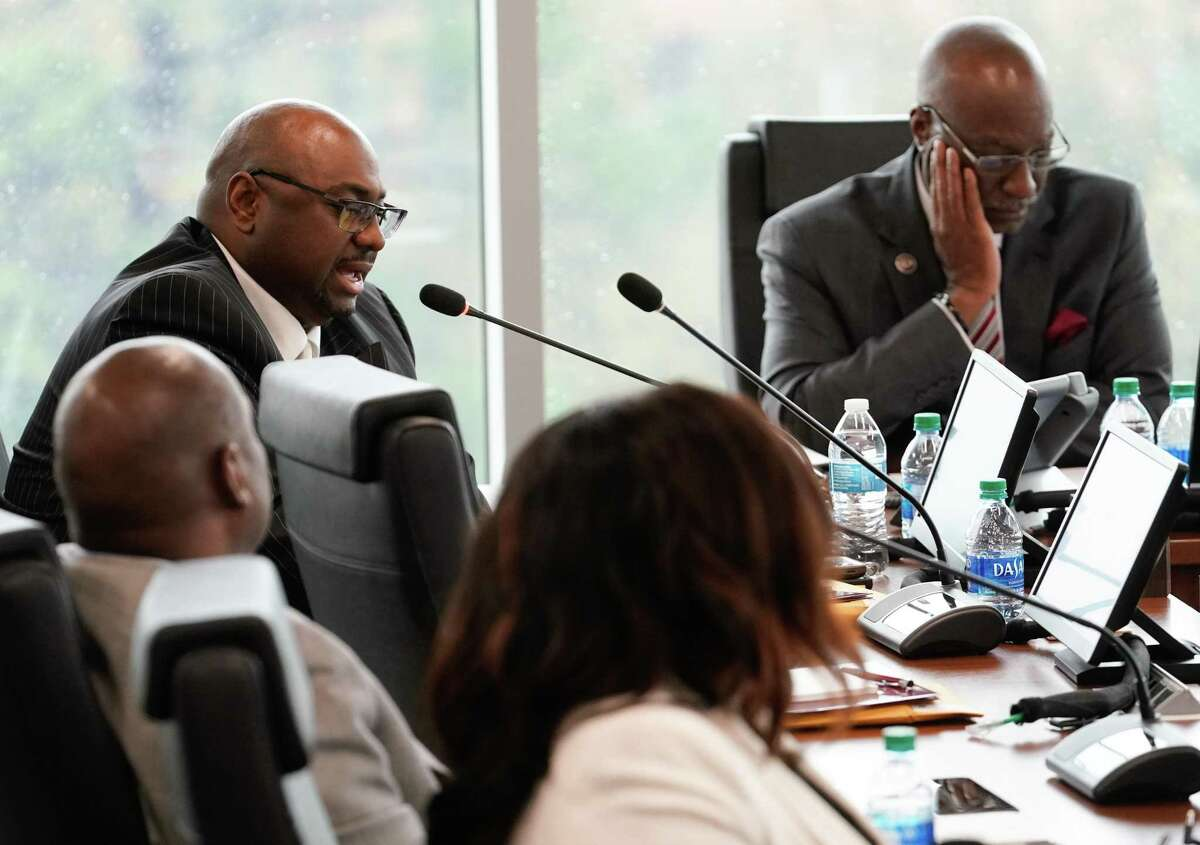 Ron Price, secretary, speaks during the Texas Southern University board of regents meeting as they motion to accept the proposal presented in mediation, which finalized the end for Austin Lane as TSU president, Thursday, Feb. 19, 2020 in Houston.