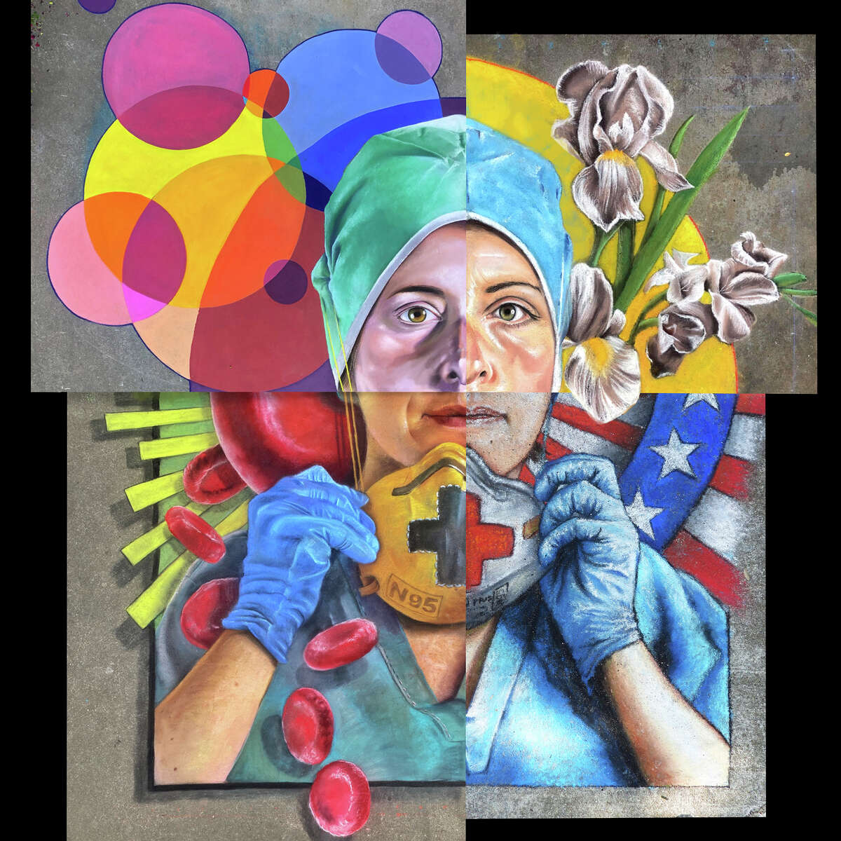 Houston artist, Anat Ronen participated in a cross-country chalk art collaborative project in homage of the times by designing a quadrant of the piece in honor of fellow artist and nurse Shelley Downs Brenner.
