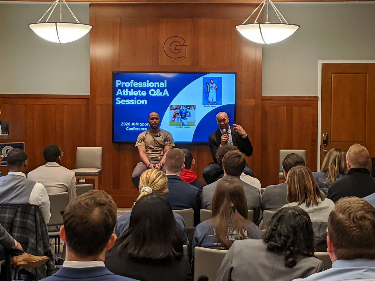 David West -�chief operating officer of the�Professional Collegiate League - speaks at the�AIM Sports Conference at Georgetown University in February.