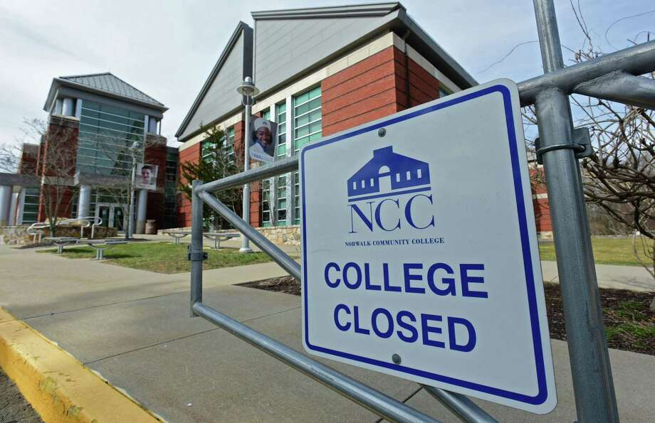 File photo: Norwalk Community College and the state's other community colleges closed in the spring due to the COVID-19 pandemic. Now they are facing a drop in enrollment that has prompted the state's public college system to vote on draining nearly all of its emergency reserves. Photo: Erik Trautmann / Hearst Connecticut Media / Norwalk Hour