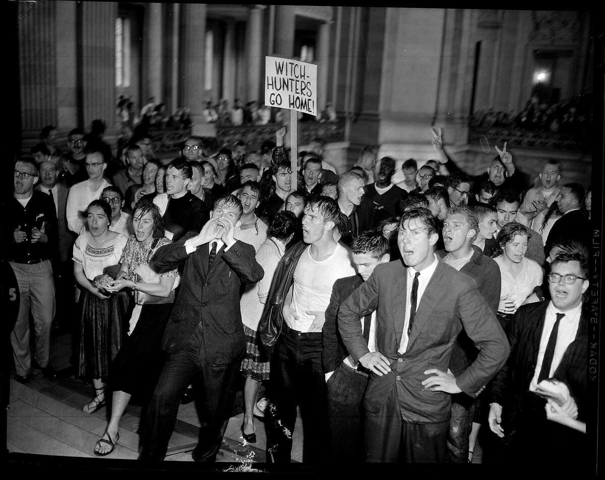HUAC PROTEST-13MAY60-MN-KM - Anti-HUAC student demonstrators at San Francisco City Hall after being driven back to firehoses. Photo by Ken McLaughlin