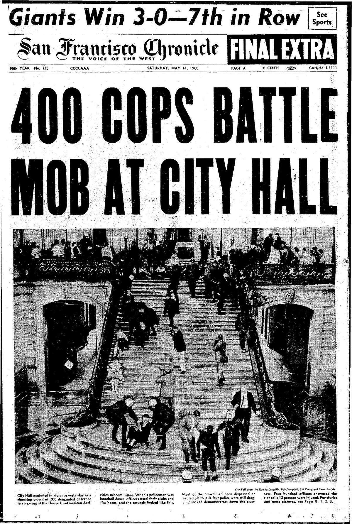 Historic Chronicle Front Page May 14, 1960 Police hose down protesters at City Hall Chron365, Chroncover