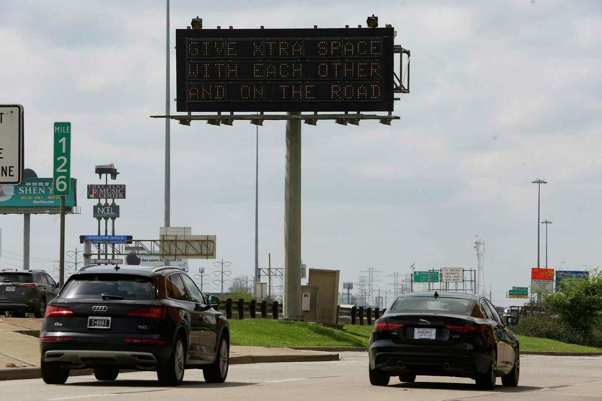 A sign off of I-59 in Houston on Thursday, March 19, 2020.