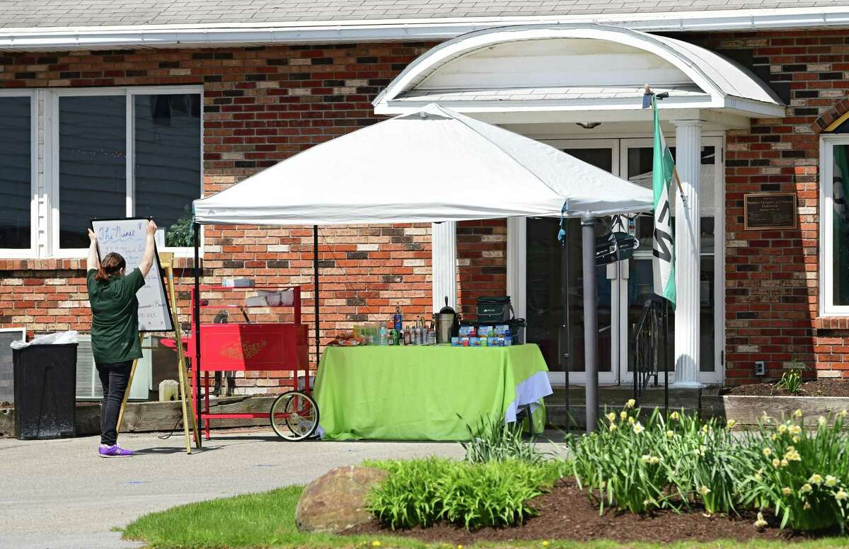Food and drink is offered outside of the restaurant at Western Turnpike Golf Course on Tuesday, April 28, 2020 in Guilderland, N.Y. (Lori Van Buren/Times Union)