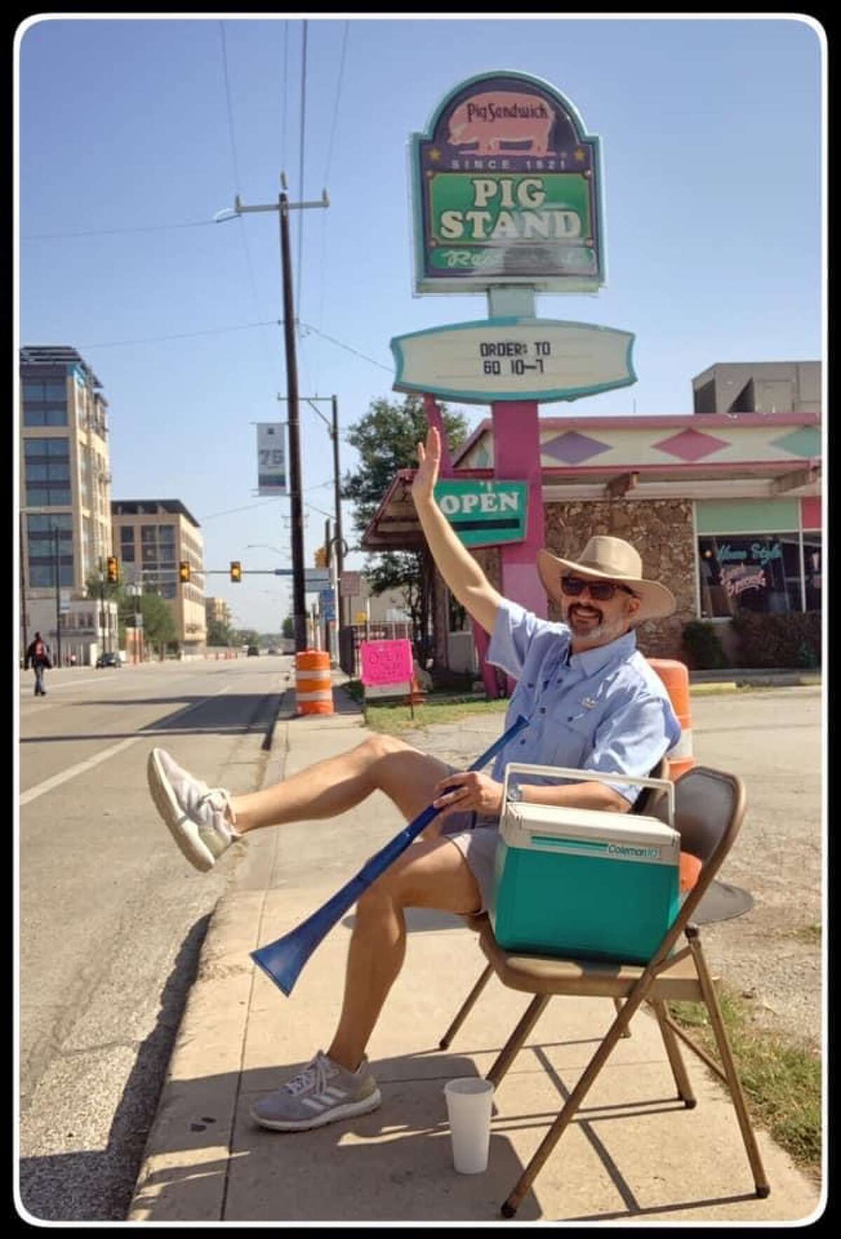 The solo Fiesta guy  Videos and photos showing Carlos R. Leos sitting alone on a Broadway sidewalk, as if the big parade was still happening, was one of many scenes he recreated to spread some Fiesta humor to his fellow San Antonians during the coronavirus crisis that ripped out the most important page in the city's social calendar. The avid Fiesta-goer dubbed the collection of viral posts