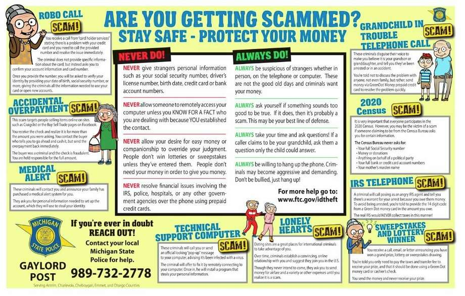 The State Police designed and distributed placemats warning older Michigan residents of potential scams and frauds. (Courtesy photo/Michigan State Police)