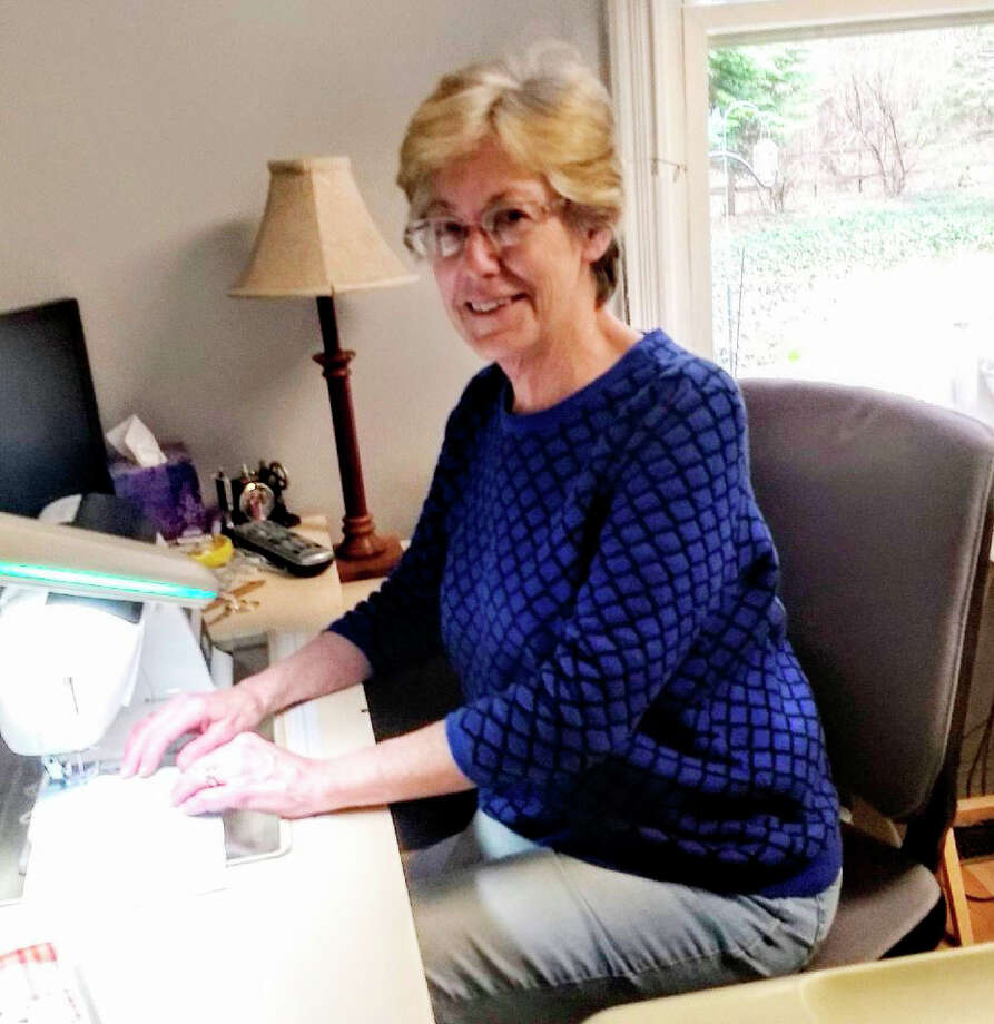 Nancy Wallace is one of many Mecosta County residents sewing and donating face masks for the community. Photo: Courtesy Photo