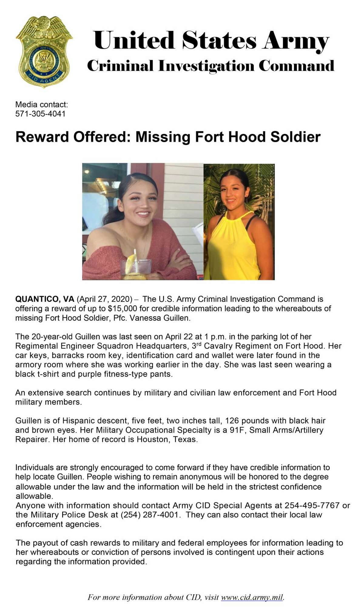 Fort Hood officials and Special Agents from the U.S. Army Criminal Investigation Command are asking for the public's assistance in locating 20-year old Pfc. Vanessa Guillen.