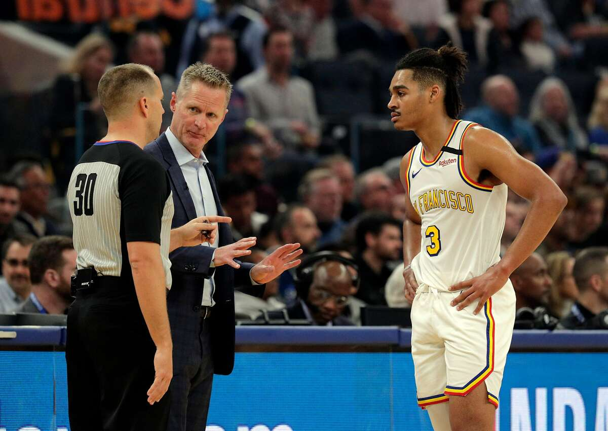 Steve Kerr and Jordan Poole - here in a February game at Chase Center - both expressed disappointment with the decision Wednesday by a Kentucky grand jury looking into the death of Breonna Taylor.