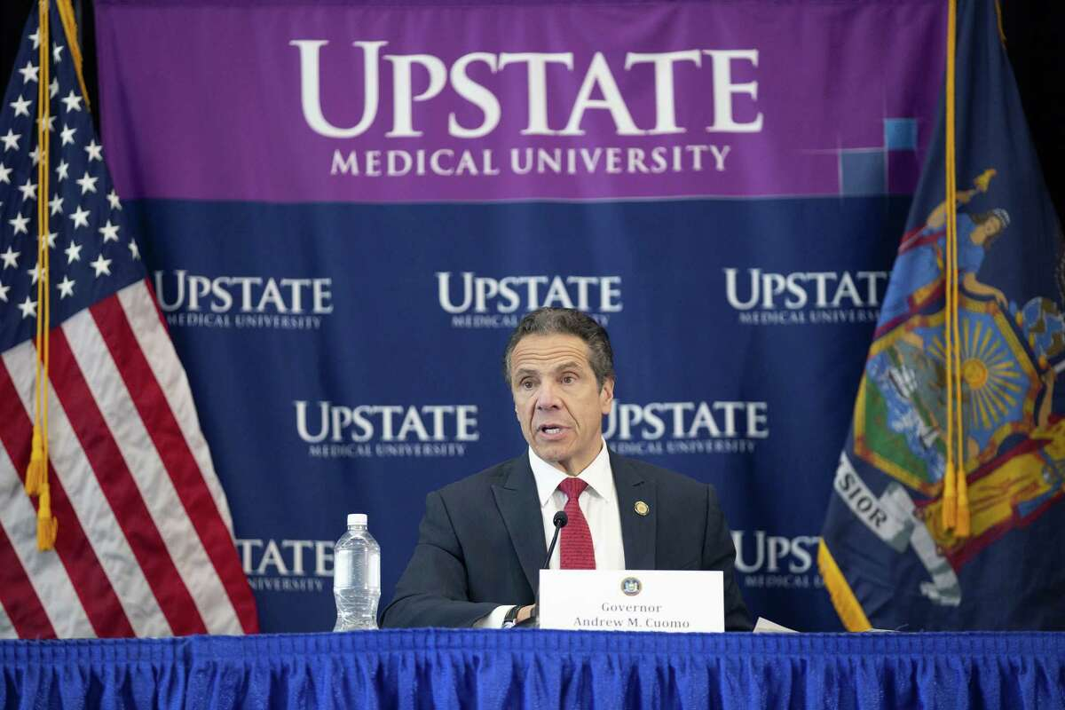 SYRACUSE, NY - APRIL 28: New York State Governor Andrew Cuomo speaks during his daily Coronavirus press briefing at SUNY Upstate Medical University on April 28, 2020 in Syracuse, New York. Cuomo detailed guidelines to reopening parts of New York State around May 15, 2020.
