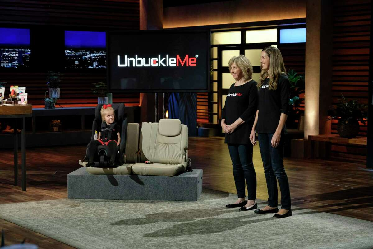 Houston mother and daughter team Becca Davison and Barbara Heilman demonstrate UnbuckleMe, their portable gadget designed as a solution to safely and quickly get children in and out of a car, on Shark Tank.