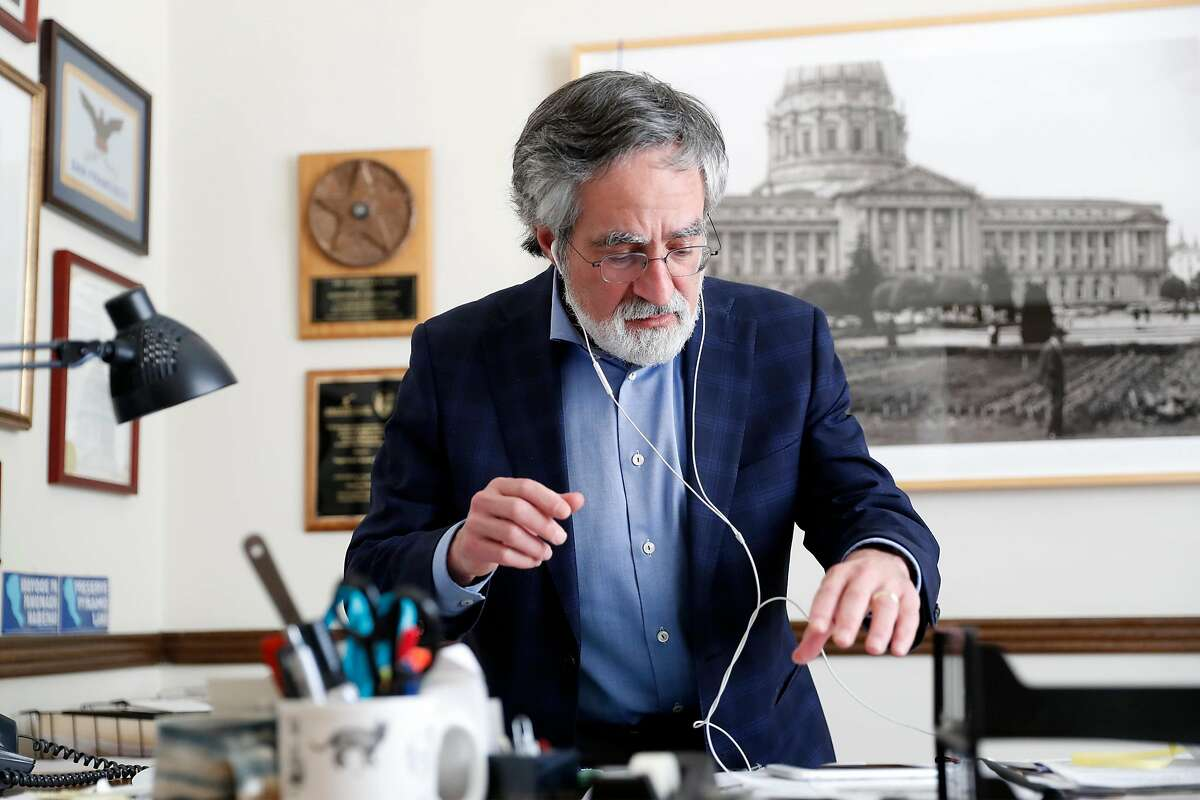 San Francisco Supervisor Aaron Peskin at his office on Columbus Avenue in San Francisco, Calif., on Wednesday, April 15, 2020.