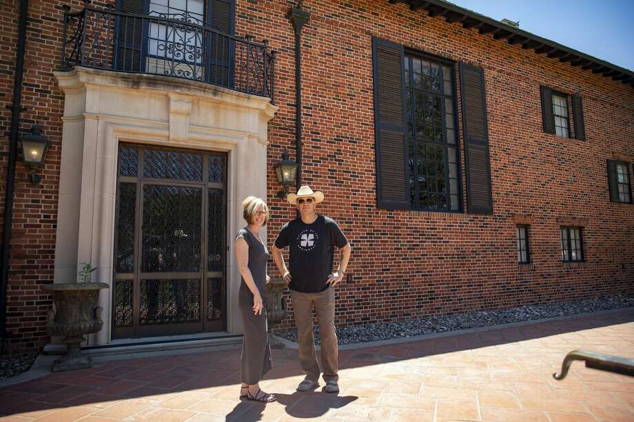 Director of community engagement Christine Eck and executive director Dan Eck pose in front of the Turner Mansion on Tuesday, April 28, 2020 at the Museum of the Southwest. Photo: Jacy Lewis/Reporter Telegram