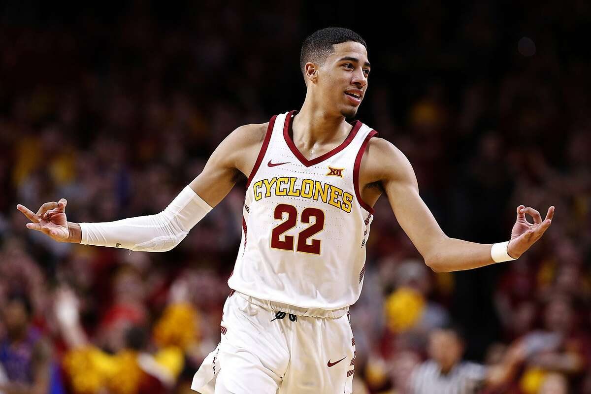 Iowa State's Tyrese Haliburton celebrates making a 3-point basket in the second half against Kansas at Hilton Coliseum in Ames, Iowa, on Saturday, Jan. 5, 2019. Iowa State won, 77-60. **FOR USE WITH THIS STORY ONLY** (David Purdy/Getty Images/TNS)
