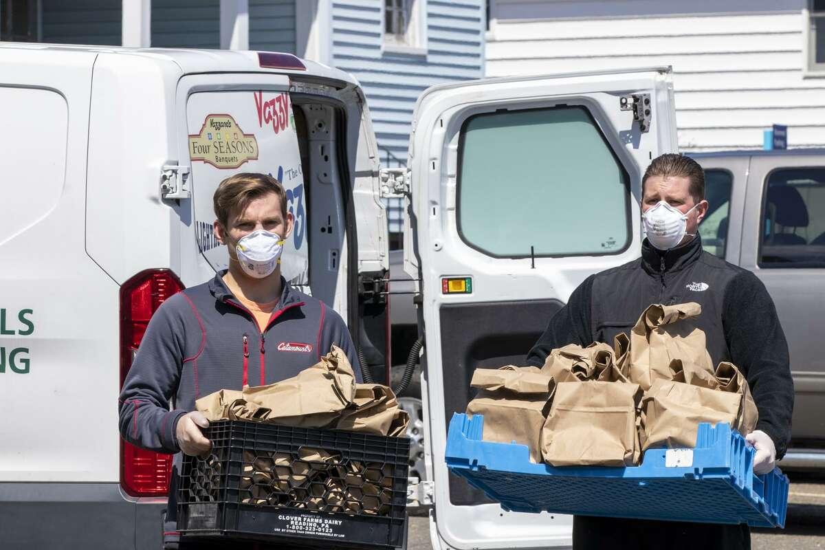 Vazzy's employees drop off food at Bridgeport Hospital.