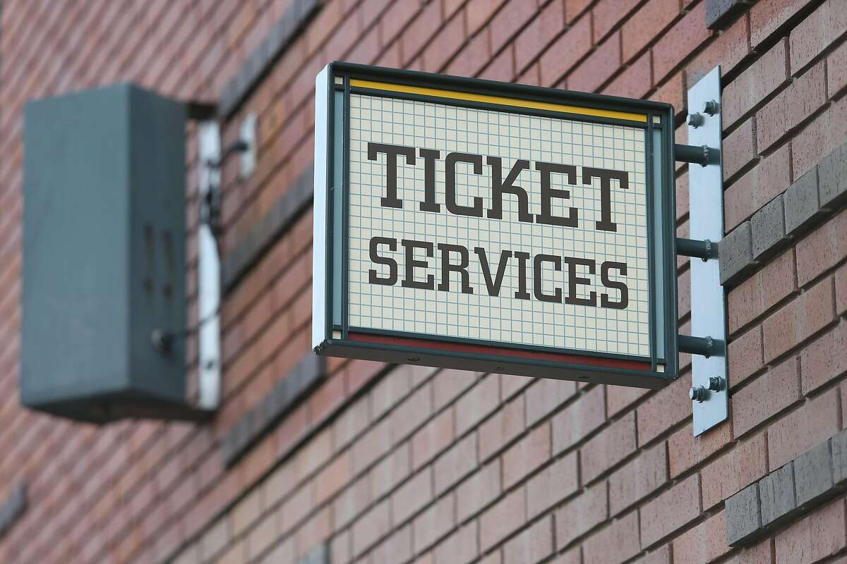 A ticket services sign is seen above a ticket services door at Oracle Park on Tuesday, March 17, 2020 in San Francisco, Calif.