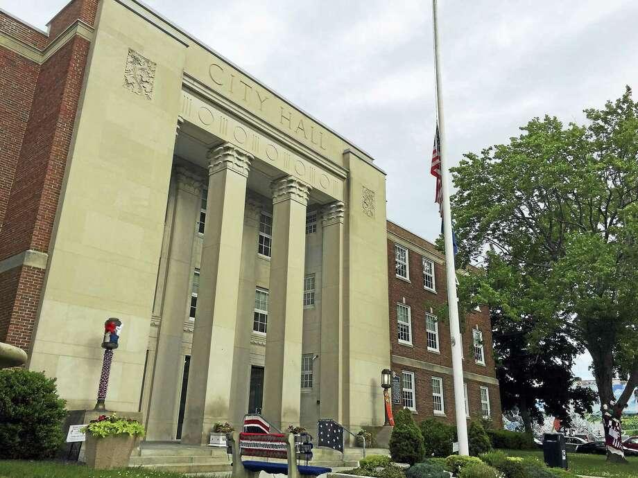 City Hall in Torrington, as seen during a past yarn bomb event. Photo: Ben Lambert / Journal Register Co.