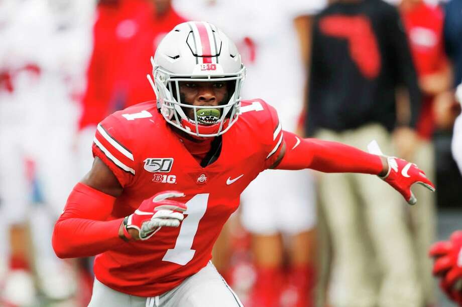 This is an Aug. 31, 2019, file photo showing Ohio State defensive back Jeff Okudah playing against Florida Atlantic in an NCAA college football game in Columbus, Ohio. Okudah is a possible pick at the NFL Draft which runs Thursday, April 23, 2020, thru Saturday, April 25. (AP Photo/Jay LaPrete, File) / Copyright 2019 The Associated Press. All rights reserved