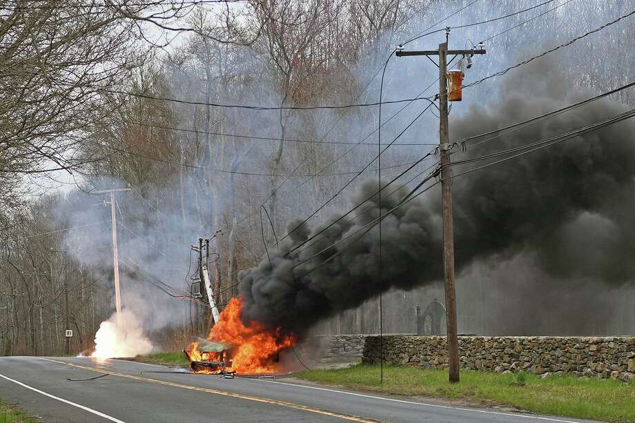 A crash on Killingworth Road in Haddam, Conn., on Monday, April 27, 2020. Photo: Contributed Photo / Haddam Volunteer Fire Company