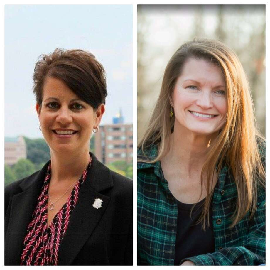 Former East Haven Mayor April Capone, now of North Haven, left, and Wallingford Inland Wetlands & Watercourse Commission member Aili McKeen, right, both are running for the 34th Senatorial District seat being vacated by Senate Minority Leader Leonard Fasano, R-34. Photo: Contributed