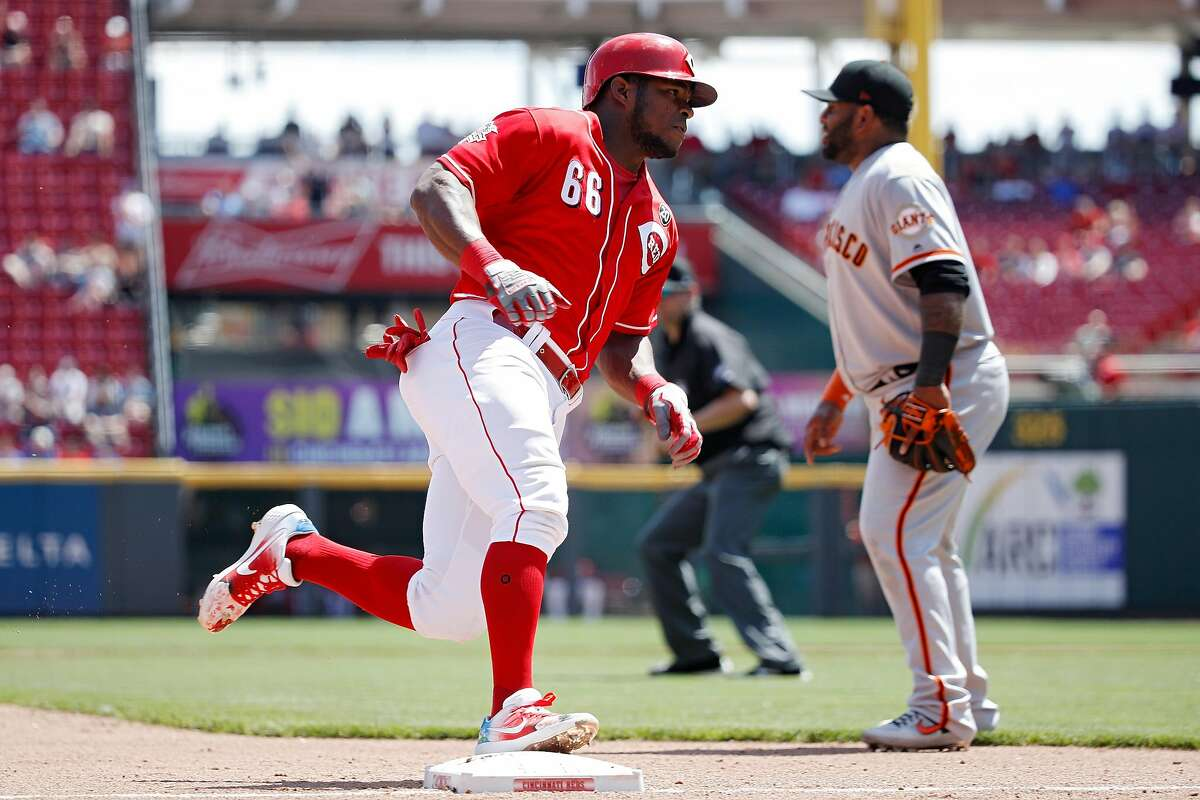 CINCINNATI, OH - MAY 06: Yasiel Puig #66 of the Cincinnati Reds rounds the bases on his way to scoring a run after a single by Jose Iglesias in the sixth inning against the San Francisco Giants at Great American Ball Park on May 6, 2019 in Cincinnati, Ohio. The Reds won 12-4. (Photo by Joe Robbins/Getty Images)