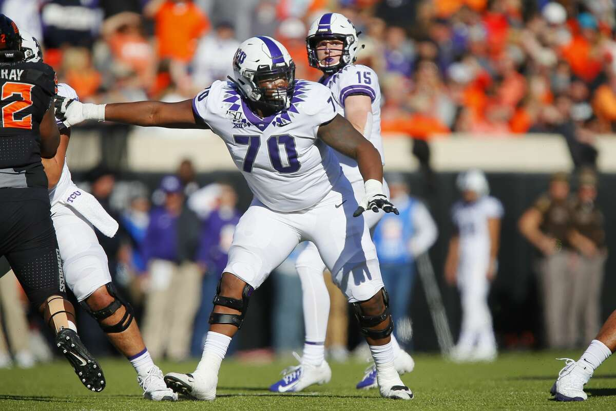 Guard Cordel Iwuagwu (70), a TCU product out of Westfield, is eager to show his hometown Texans what he can do after signing with them as an undrafted free agent.