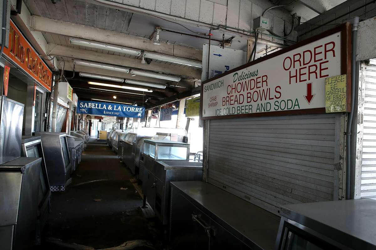 SAN FRANCISCO, CALIFORNIA - APRIL 27: Food stalls on Fisherman's Wharf sit empty on April 27, 2020 in San Francisco, California. Officials from several counties in the San Francisco Bay Area have extended the coronavirus (COVID-19) shelter in place order through May. (Photo by Justin Sullivan/Getty Images)