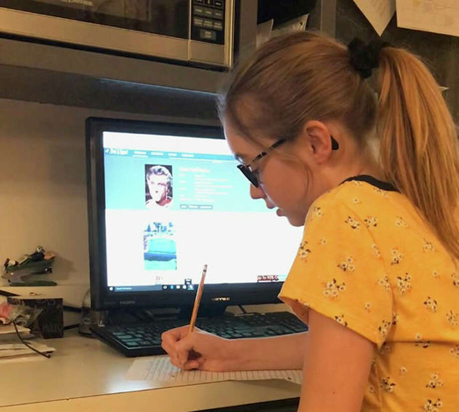 Kya Brant, 12, of Jacksonville works on one of her documentaries. Photo: Photo Provided