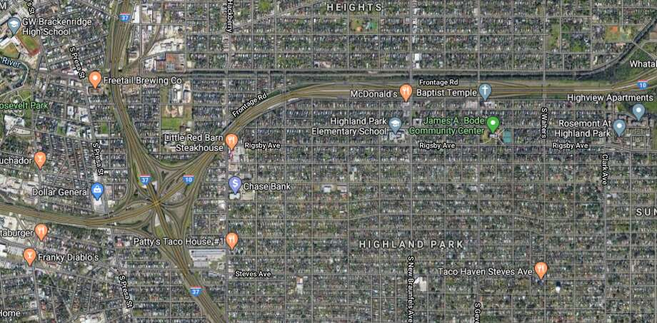 A 29-year-old Uber driver told police she picked up two males in their late teens near MLK Drive and Walters Street just before 11 p.m. As she drive onto Interstate 10, someone from a light colored, mid-sized vehicle began shooting at her car, police said.The map shows the area in which the incident occurred. Photo: Google Maps